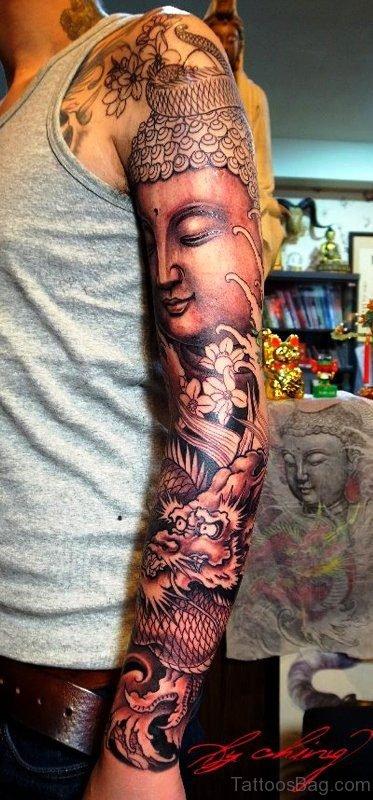 Full Sleeve Buddha Tattoo With Dragon