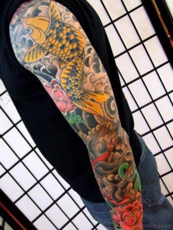 4ca6d7aa5 Full Sleeve Buddhist Koi Fish Tattoo Design