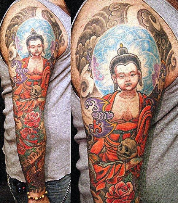 Full Sleeve Great Buddha Tattoo Design