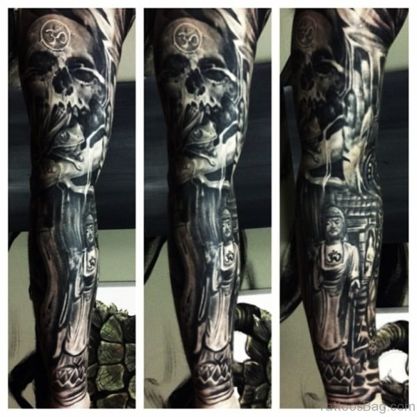 Full Sleeve Skull And Buddha Tattoo Design