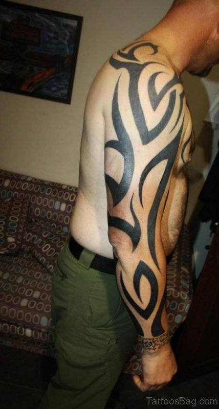 Full Sleeve Tribal Tattoo Design For Men