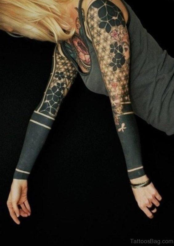 Full Sleeve Tribal Tattoo For Girls