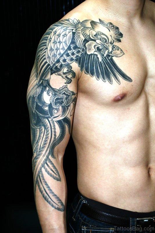 Full Sleeves Eagle Tattoo On Shoulder