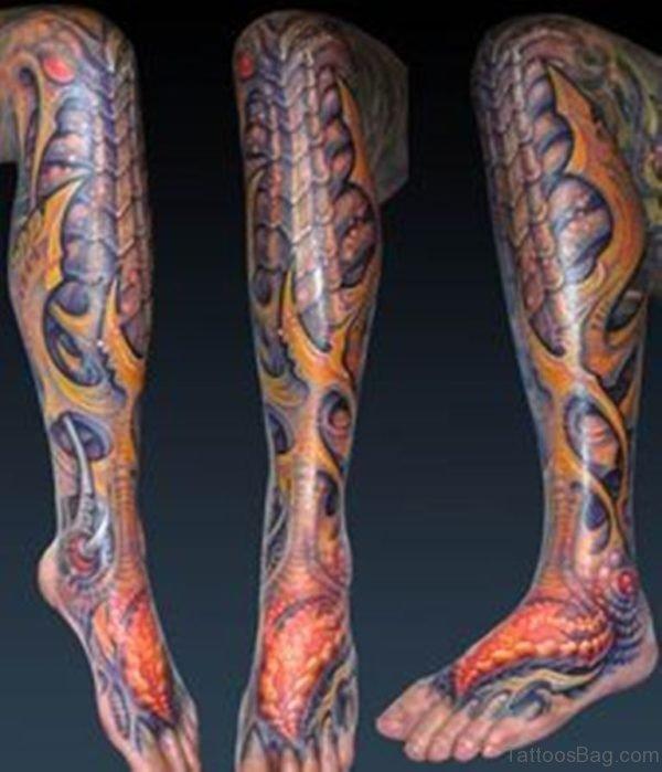 Funky Biomechanical Tattoo For Leg