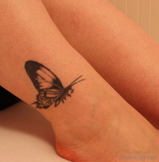 Funky Butterfly Ankle Tattoo