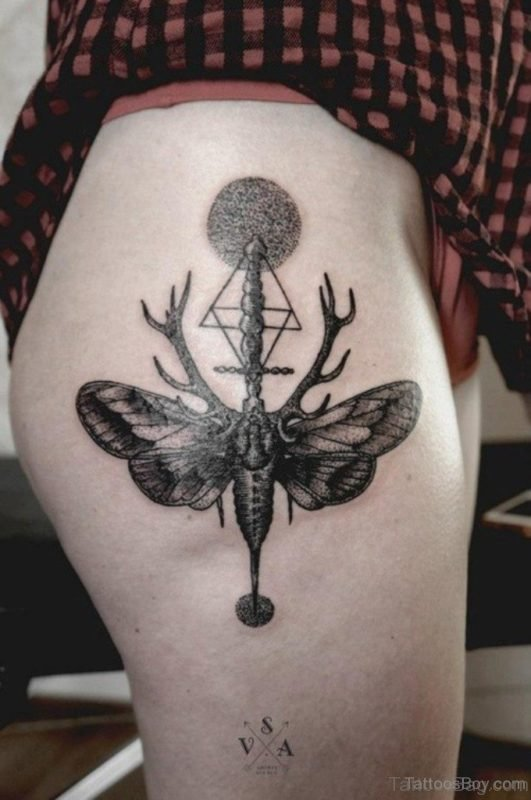 Funky Butterfly Tattoo On Thigh