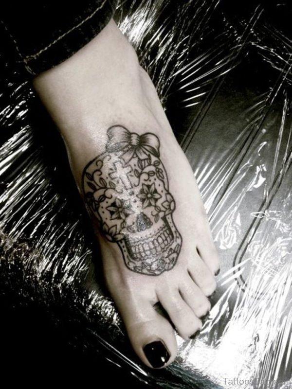 Funky Color Ink Sugar Skull Tattoos On Feet
