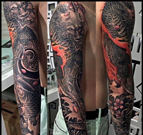 Funky Dragon Tattoo On Full Sleeve