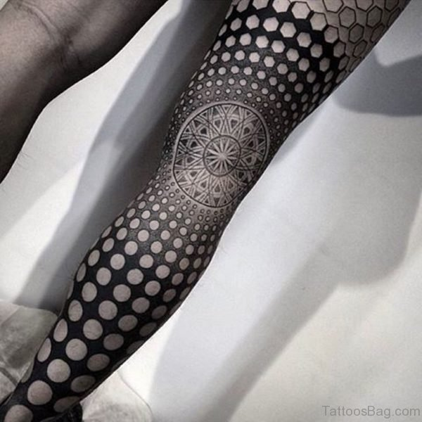 Funky Geometric Tattoo On Leg