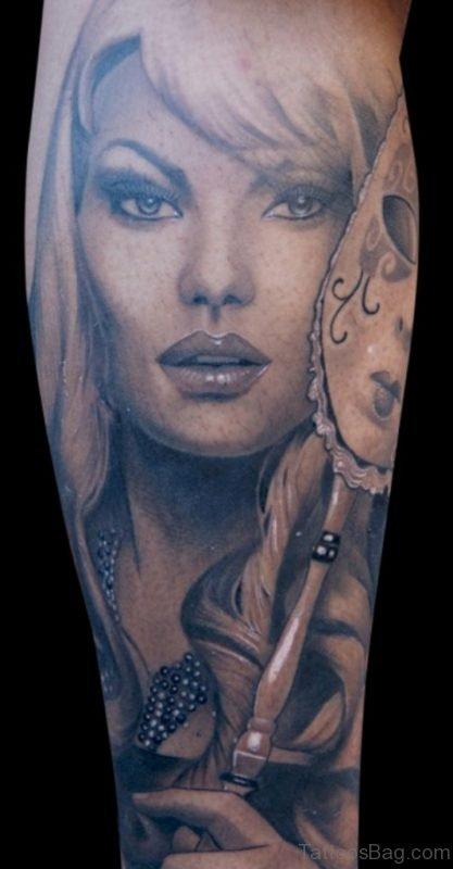Funky Girl Portrait Tattoo
