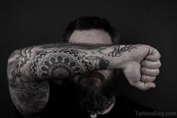 Funky Mandala Tattoo On Arm
