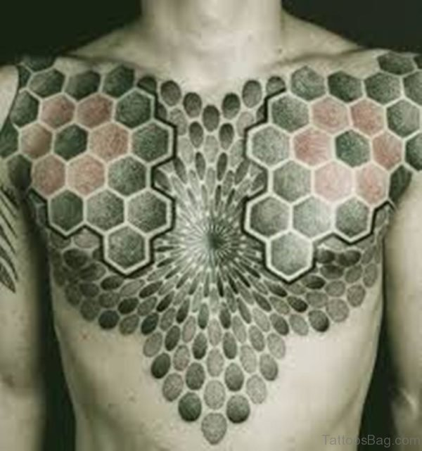 Funky Mandala Tattoo On Chest