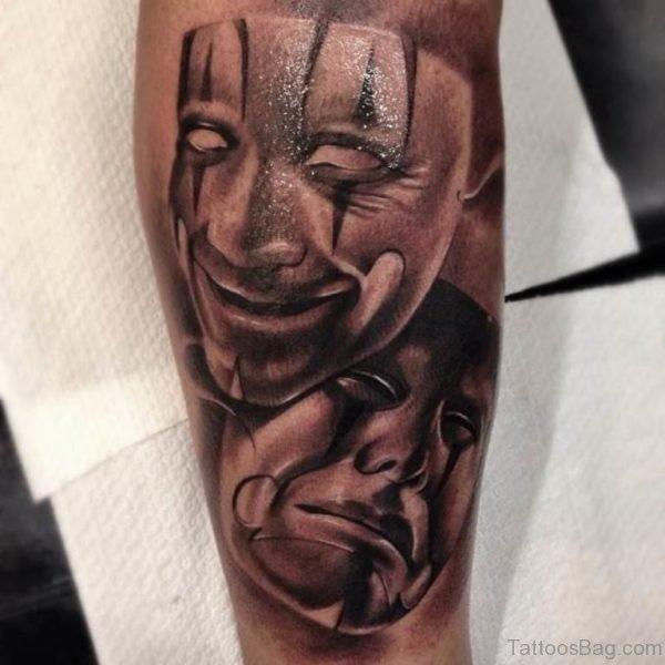 Funky Mask Tattoo On Shoulder