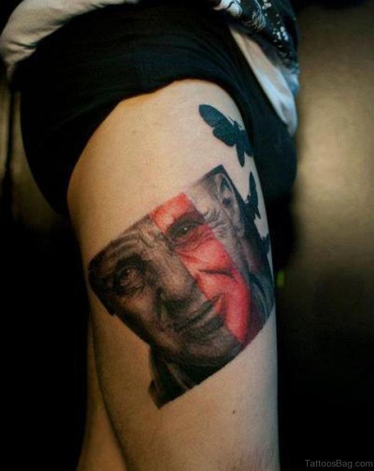 70 impressive portrait tattoos designs for thigh. Black Bedroom Furniture Sets. Home Design Ideas