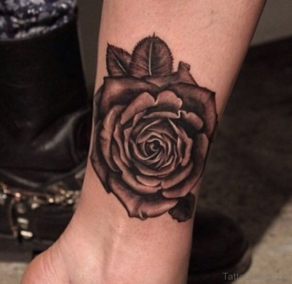 Funky Rose Tattoo On Ankle