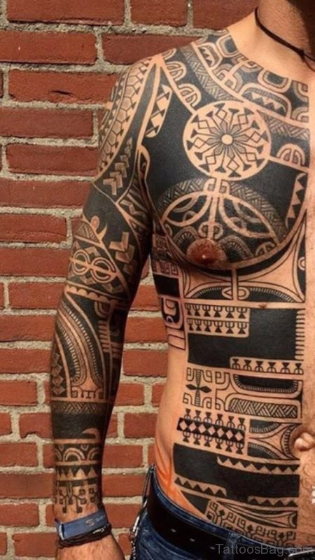 Funky Tribal Tattoo On Full Sleeve