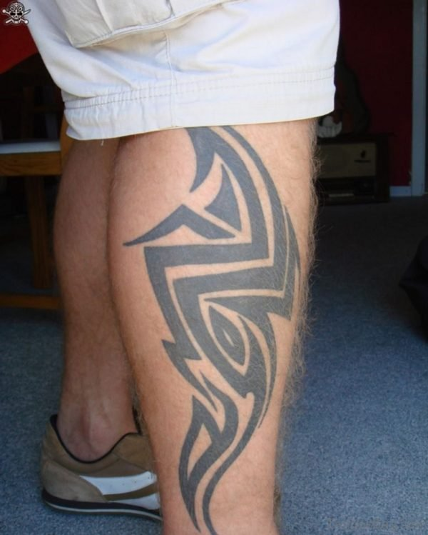 Funky Tribal Tattoo On Leg