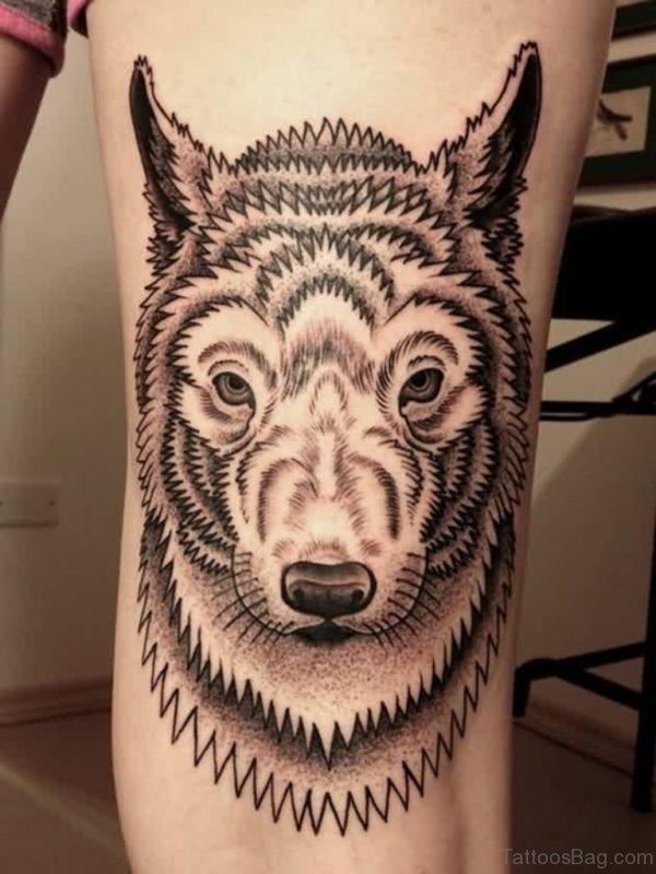 Funky Wolf Tattoo