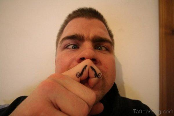 Funny Finger Mustache Tattoo