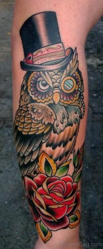 Funny Owl And Rose Tattoo