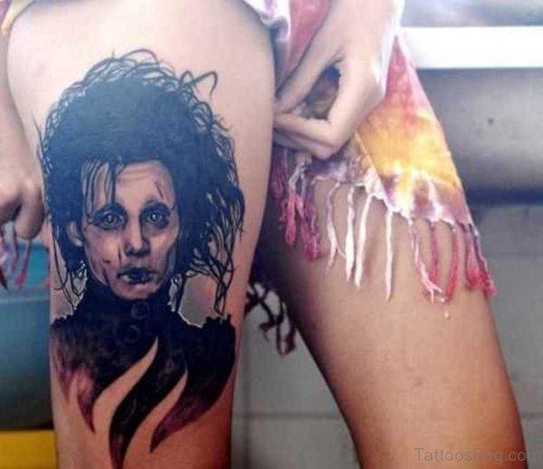 Funny Portrait Tattoo On Thigh