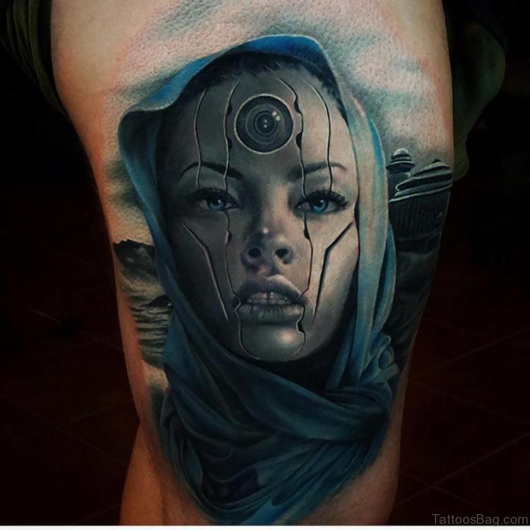 70 Impressive Portrait Tattoos Designs For Thigh