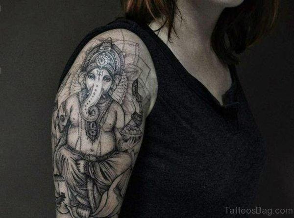 Ganesha Tattoo Design On Shoulder