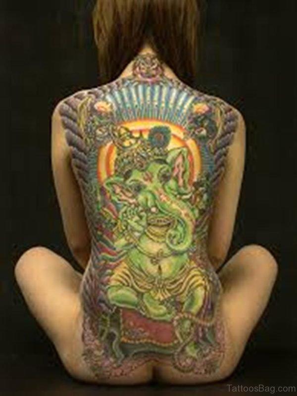 Ganesha Tattoo On Girl Back