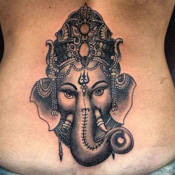 Ganesha Tattoo On Lower Back