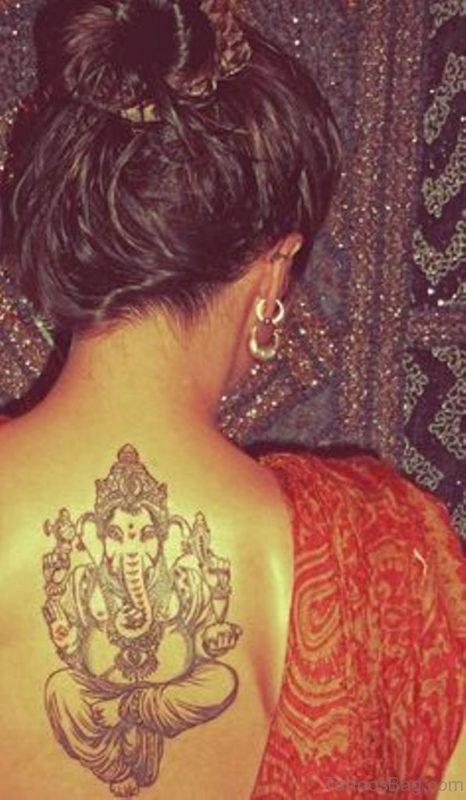 Ganesha Tattoo On Upper Back