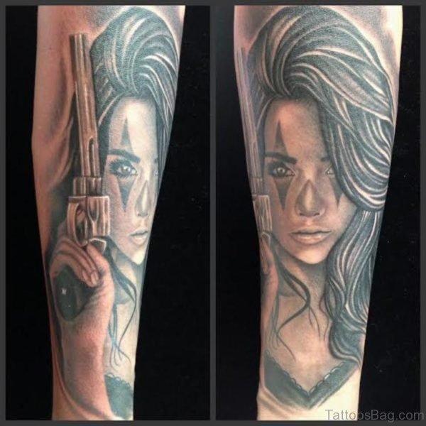 Gangster Girl Portrait Tattoo
