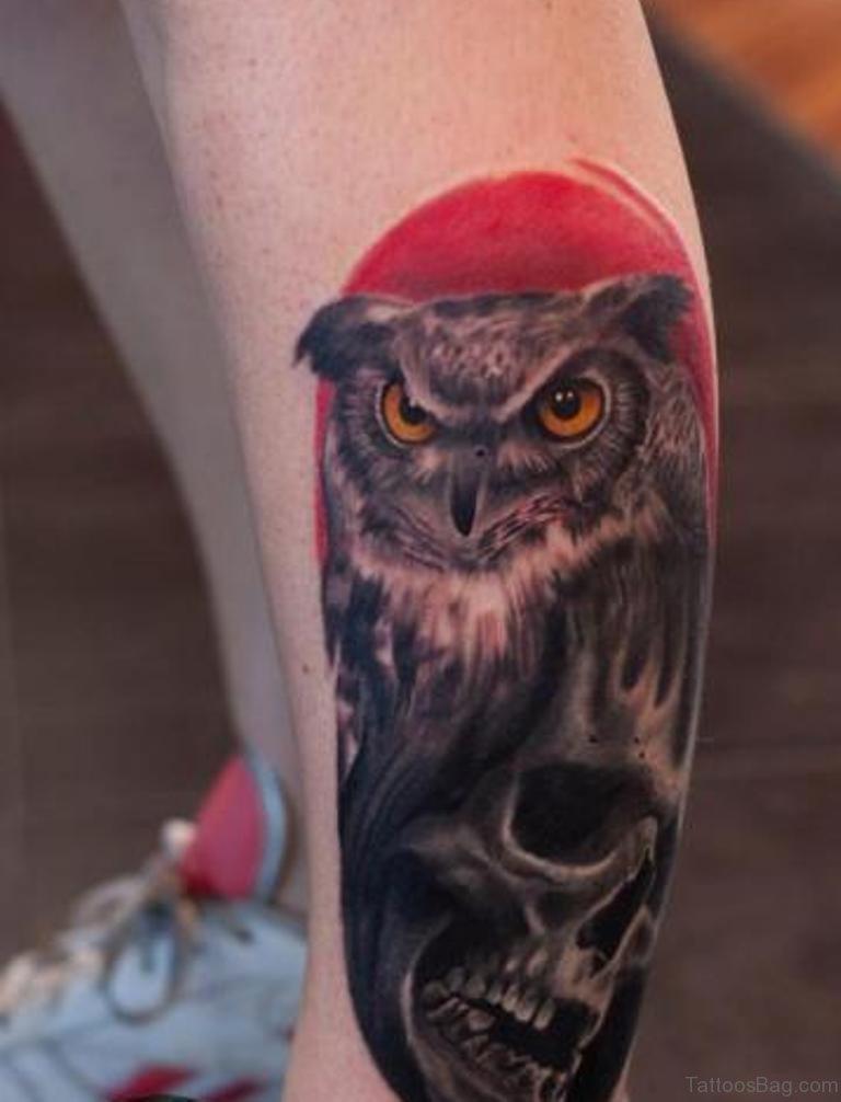 73 elegant owl tattoos on leg for Owl tattoo skull
