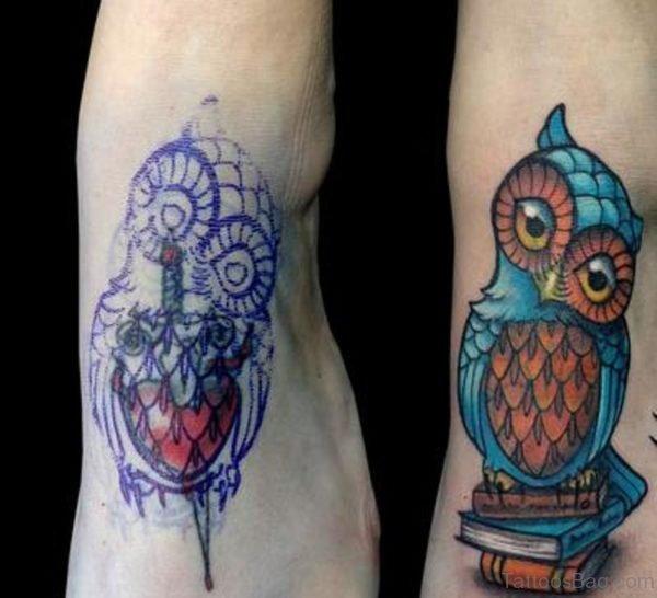 Garecful Owl Tattoo Design On Foot
