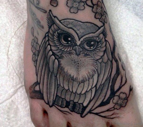 Garecful Owl Tattoo On Foot