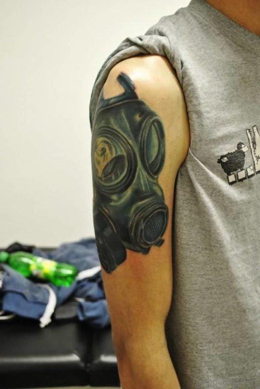Gas Mask Tattoo Design On Shoulder