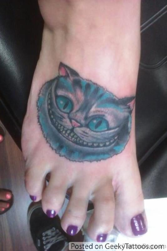Geek Cat Tattoo On Foot