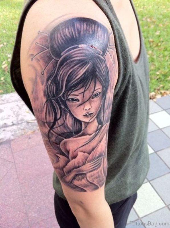 Geisha Girl Tattoo On Shoulder