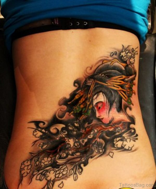 Geisha Head Tattoo On Back