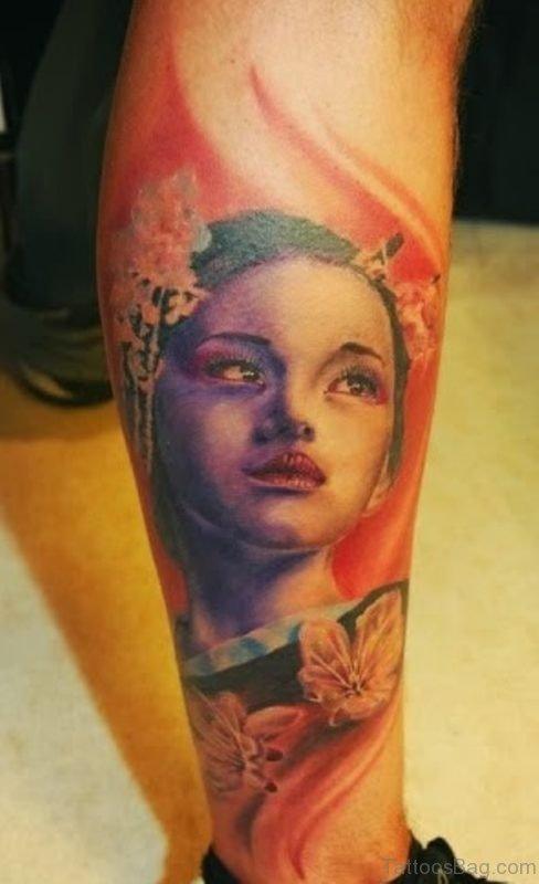 Geisha Leg Tattoo Design