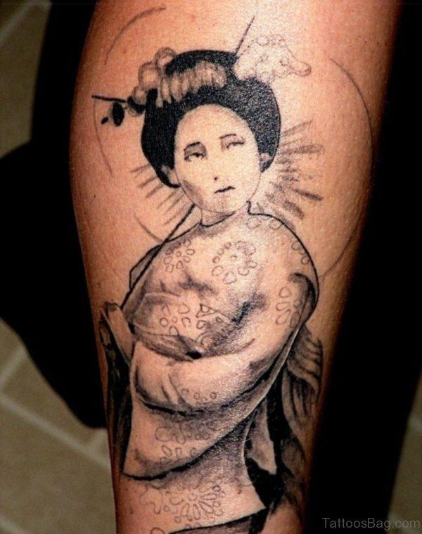 Geisha Leg Tattoo Design Image
