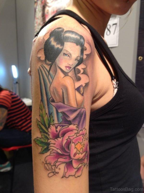 Geisha Samurai Tattoo On Shoulder