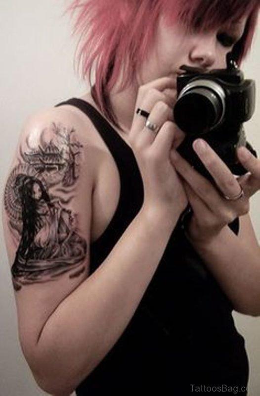 Geisha Tattoo Design For Shoulder