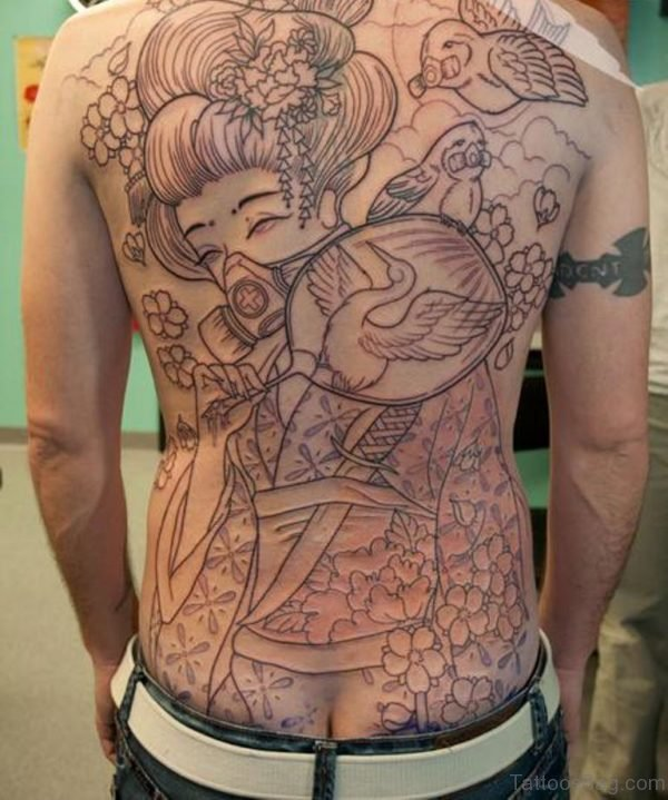 Geisha Tattoo Design On Back Image