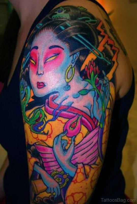 Geisha Tattoo For Girls On Left Shoulder