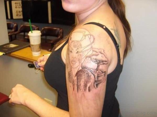 Geisha Tattoo For Girls On Left Shoulder Image