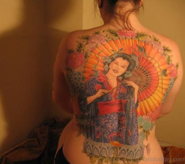 Geisha Tattoo On Back For Women