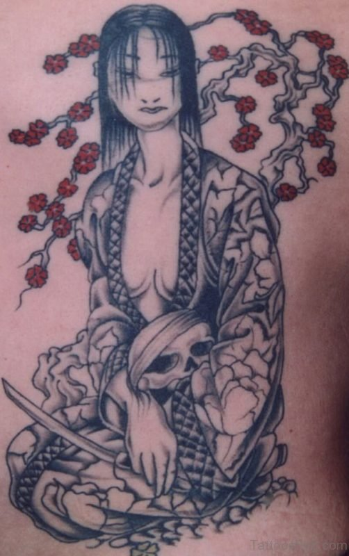 Geisha Tattoo On Back Of Girl