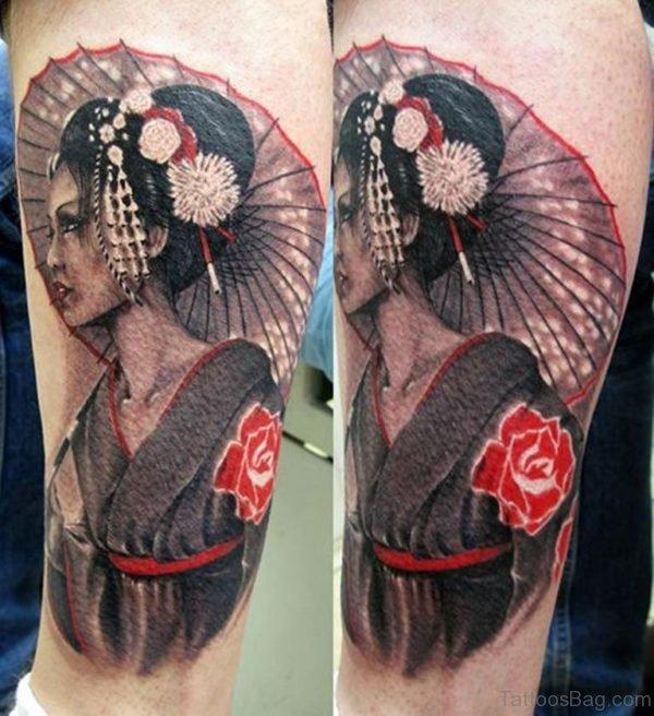 Geisha Tattoo On Leg Of Girl