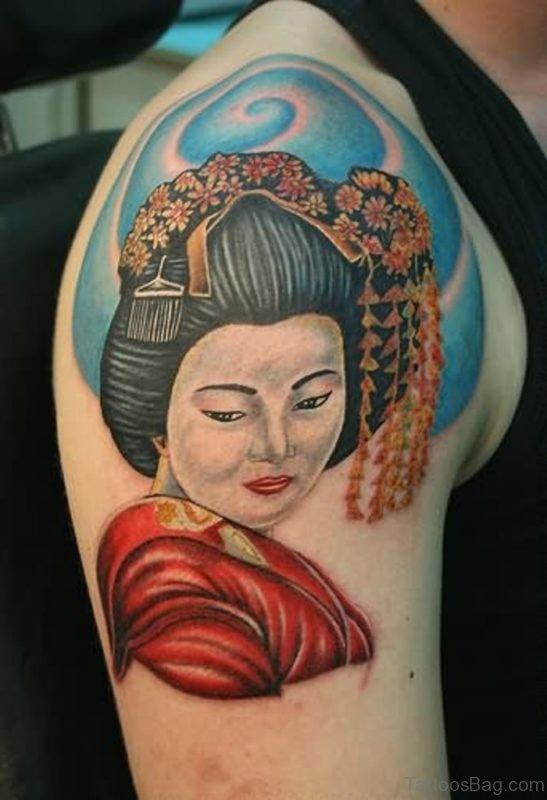 Geisha Tattoo On Shoulder