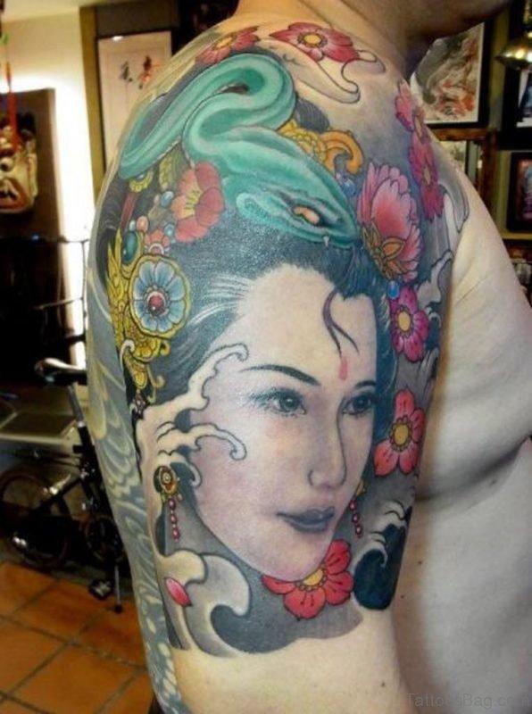 Geisha Tattoo On Shoulder Image